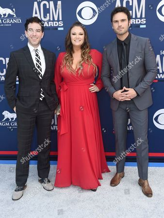 Ty Bentli,Tricia Jenkins, Chuck Wicks. Ty Bentli, from left,Tricia Jenkins and Chuck Wicks arrive at the 54th annual Academy of Country Music Awards at the MGM Grand Garden Arena, in Las Vegas