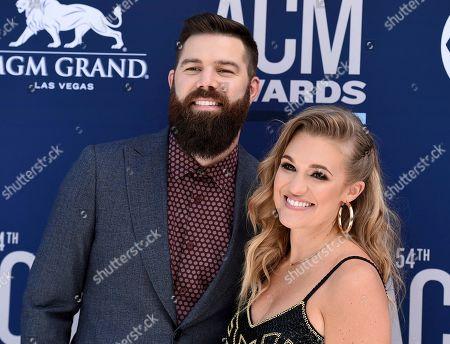 Jordan Davis, Kristen O'Connor. Jordan Davis, left, and Kristen O'Connor arrive at the 54th annual Academy of Country Music Awards at the MGM Grand Garden Arena, in Las Vegas