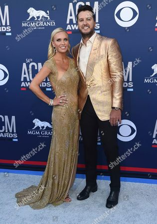 Luke Bryan, Caroline Boyer. Luke Bryan, right, and Caroline Boyer arrive at the 54th annual Academy of Country Music Awards at the MGM Grand Garden Arena, in Las Vegas