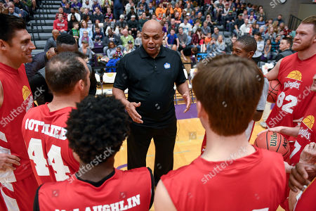 Charles Barkley coaches Team Pringles at the Celebrity Crunch Classic presented by Cheez-It and Pringles, in St Paul, Minn