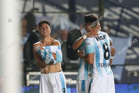 Racing Club's Jonathan Cristaldo (L) jubilates a goal during a Superliga match between Racing Club and Defensa y Justicia, at the Juan Domingo Peron de Avellaneda stadium, in Buenos Aires, Argentina, 07 April 2019.