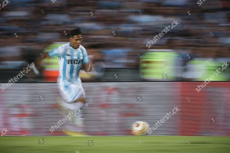 Racing Club's Federico Zaracho during a Superliga match between Racing Club and Defensa y Justicia, at the Juan Domingo Peron de Avellaneda stadium, in Buenos Aires, Argentina, 07 April 2019.
