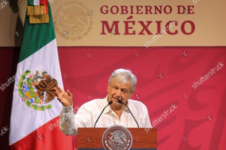 Mexican President Andres Manuel Lopez Obrador speaks during the inauguration of the 44th Touristic Tianguis, in Acapulco, Mexico, 07 April 2019. Obrador stated he would support the tourism industry through the development of marginalized areas and the reduction of insecurity.