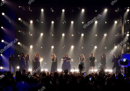 """Mickey Guyton, Lauren Alaina, Carrie Underwood, Chrissy Metz, Maddie Marlow, Tae Dye. Mickey Guyton, from left, Lauren Alaina, Carrie Underwood, Chrissy Metz, and Maddie Marlow and Tae Dye, of Maddie & Tae, perform """"I'm Standing with You"""" at the 54th annual Academy of Country Music Awards at the MGM Grand Garden Arena, in Las Vegas"""