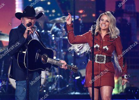 "George Strait, Miranda Lambert. George Strait, left, and Miranda Lambert perform ""Run"" at the 54th annual Academy of Country Music Awards at the MGM Grand Garden Arena, in Las Vegas"