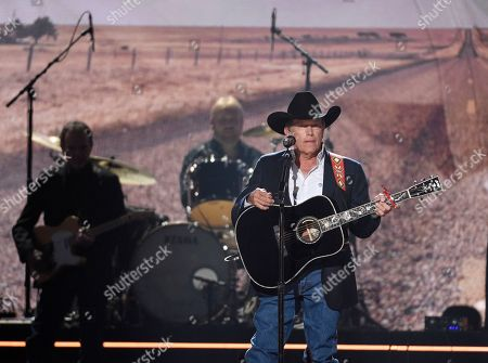 """Stock Image of George Strait performs """"God and Country Music"""" at the 54th annual Academy of Country Music Awards at the MGM Grand Garden Arena, in Las Vegas"""