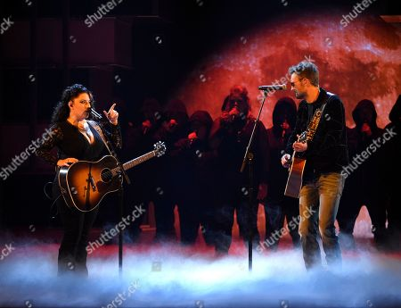 """Ashley McBryde, Eric Church. Ashley McBryde, left, and Eric Church perform """"The Snake"""" at the 54th annual Academy of Country Music Awards at the MGM Grand Garden Arena, in Las Vegas"""