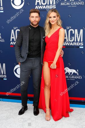 Chris Lane (L) and US TV personality Lauren Bushnell (R) arrive for the 54th Annual Academy of Country Music Awards at the MGM Grand Garden Arena in Las Vegas, Nevada, USA, 07 April 2019.