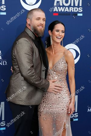 Brantley Gilbert and his spouse Amber Cochran arrive for the 54th Annual Academy of Country Music Awards at the MGM Grand Garden Arena in Las Vegas, Nevada, USA, 07 April 2019.