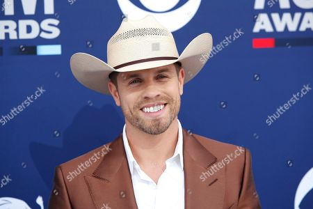 Stock Image of Dustin Lynch arrives for the 54th Annual Academy of Country Music Awards at the MGM Grand Garden Arena in Las Vegas, Nevada, USA, 07 April 2019.