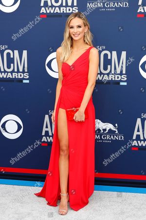 Lauren Bushnell arrives for the 54th Annual Academy of Country Music Awards at the MGM Grand Garden Arena in Las Vegas, Nevada, USA, 07 April 2019.