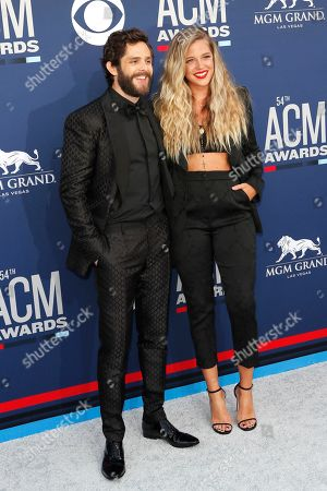 Thomas Rhett (L) and Lauren Akins (R) arrives for the 54th Annual Academy of Country Music Awards at the MGM Grand Garden Arena in Las Vegas, Nevada, USA, 07 April 2019.