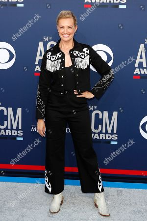 Beth Behrs arrives for the 54th Annual Academy of Country Music Awards at the MGM Grand Garden Arena in Las Vegas, Nevada, USA, 07 April 2019.