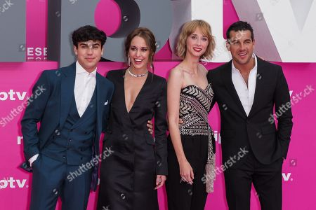 Stock Photo of Spanish actors Oscar Casas, Silvia Alonso, Ingrid Garcia Jonsson and Mario Casas