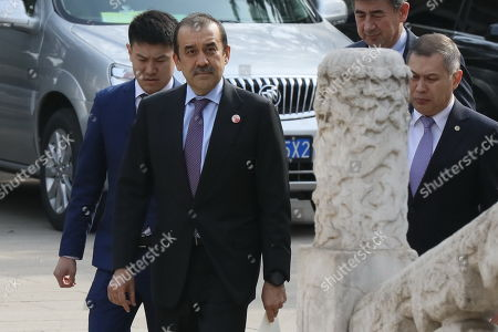 Karim Massimov (C), chairman of the National Security Council of Kazakhstan, arrives for a meeting with Chinese Vice President Wang Qishan (not pictured) at Zhongnanhai in Beijing, China, 08 April 2019.