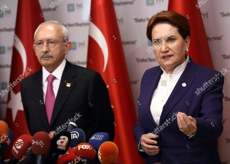 Meral Aksener, Kemal Kilicdaroglu. Turkey's main opposition leaders, Kemal Kilicdaroglu of Republican People's Party, CHP and Meral Aksener of Good (IYI) Party, right, speak to the media as their candidate for Turkish capital Ankara, Mansur Yavas, received the document confirming him as new mayor, in Ankara, Turkey, . Turkish President Recep Tayyip Erdogan's ruling party is appealing the results of the local elections in Istanbul, where the opposition has a razor-thin lead
