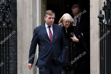 Graham Brady, Chairman of the 1922 Committee, and other members of the committee at No.10 Downing Street