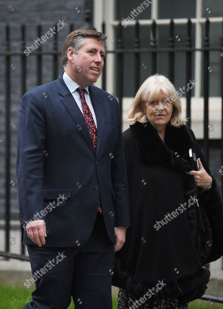 Stock Image of Graham Brady, Chairman of the 1922 Committee, and Cheryl Gillan of the committee at No.10 Downing Street