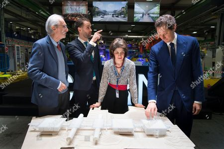 (L-R) Italy's architect Renzo Piano, Antonio Hodgers, President of the State Council of Republic and Canton of Geneva, Fabiola Gianotti, Director-General of CERN and John Elkann Chairman of the Fiat Chrysler Automobiles Group pose in front of a scale model of the building of the Science Gateway during the unveiling of the new Science Gateway project of the European Organization for Nuclear Research, CERN, in Meyrin, Switzerland, 08 April 2019. As part of its mission to educate and engage the public in science, CERN is launching the Science Gateway, a new facility dedicated to scientific education and outreach.