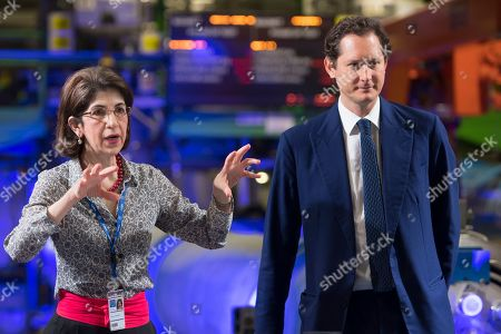 Fabiola Gianotti (L), Director-General of CERN speaks with John Elkann (R), Chairman of the Fiat Chrysler Automobiles Group during the unveiling of the new Science Gateway project of the European Organization for Nuclear Research, CERN, in Meyrin, Switzerland, 08 April 2019. As part of its mission to educate and engage the public in science, CERN is launching the Science Gateway, a new facility dedicated to scientific education and outreach.
