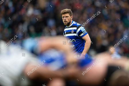 Rhys Priestland of Bath Rugby watches a scrum