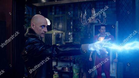 Mark Strong as Dr. Thaddeus Sivana and Zachary Levi as Shazam
