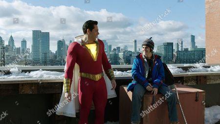 Zachary Levi as Shazam and Asher Angel as Billy Batson