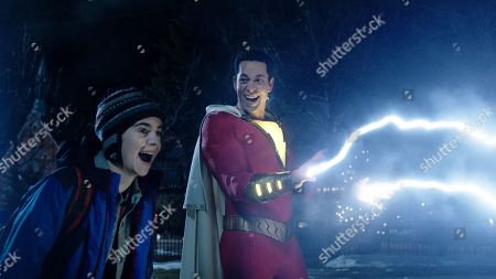 Asher Angel as Billy Batson and Zachary Levi as Shazam