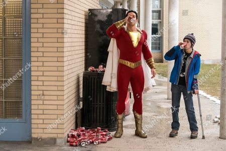 Stock Picture of Zachary Levi as Shazam and Asher Angel as Billy Batson