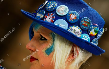 A pro EU protestor wears a hat opposite the Houses of Parliament in London, . Britain's government and opposition parties are clinging to hope Monday of finding a compromise Brexit deal