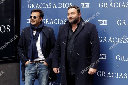 Francois Ozon (L) and actor Denis Menochet pose for the photographers during a press presentation of his film 'Grace a Dieu' (Thanks to God) in Madrid, Spain, 08 April 2019. The film is based on the true life of sexual abuses victims with French Father Preynat being involved in the scandal.