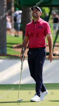 Charl Schwartzel of South Africa reacts on the sixteenth hole during the first practice round for the 2019 Masters Tournament at the Augusta National Golf Club in Augusta, Georgia, USA, 08 April 2019. The 2019 Masters Tournament is held 11 April through 14 April 2019.