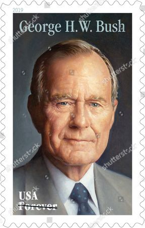 Stock Image of This photo provided by the U.S. Postal Service shows the new Forever stamp design honoring former President George H.W. Bush. The Postal Service said that the commemorative Forever stamp featuring Bush will be issued on his birthday, June 12. A first-day-of-issue ceremony will be held that day at the George H.W. Bush Presidential Library and Museum in College Station, Texas