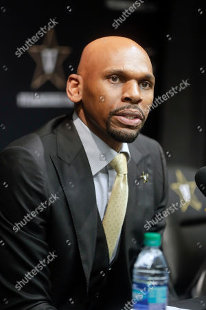 Vanderbilt basketball coach Jerry Stackhouse answers questions at a news conference, in Nashville, Tenn. Stackhouse was hired to replace Bryce Drew as head coach April 5