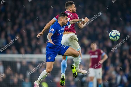 Emerson Palmieri (Chelsea) & Ryan Fredericks (West Ham) during the Premier League match between Chelsea and West Ham United at Stamford Bridge, London