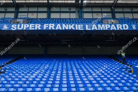 Banner to former West Ham United FC and Chelsea FC player Frankie Lampard, now Manager at Derby County FC in the North Stand at Stamford Bridge ahead of the Premier League match between Chelsea and West Ham United at Stamford Bridge, London