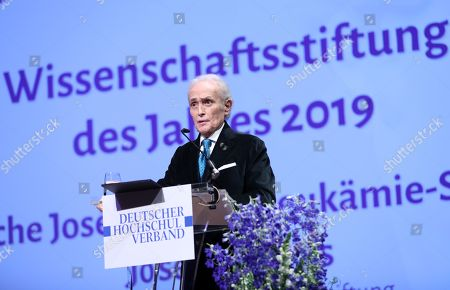 Spanish tenor Jose Carreras speaks after receiving the award 'Science foundation of the Year 2019' for the German affiliate of the 'Jose Carreras International Leukemia Foundation' during the gala event of the German Science, in Berlin, Germany, 08 April 2019. Carreras established the 'José Carreras International Leukaemia Foundation' in 1988, as an institution that supports the research and treatment of leukemia in different fields. Carreras also performs regularly in charity concerts in aid of his foundation and other medical related charities.