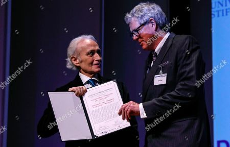 Spanish tenor Jose Carreras (L)receives the award 'Science foundation of the Year 2019' for the German affiliate of the 'Jose Carreras International Leukemia Foundation' from the Secretary General of the German Science Foundation, Andreas Schlueter, during the gala event of the German Science, in Berlin, Germany, 08 April 2019. Carreras established the 'José Carreras International Leukaemia Foundation' in 1988, as an institution that supports the research and treatment of leukemia in different fields. Carreras also performs regularly in charity concerts in aid of his foundation and other medical related charities.