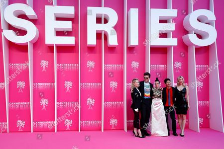 Cast members of 'Now Apocalypse', US actors Kelli Berglund (L), Beau Mirchoff (2-L), French actress Roxane Mesquida (C), US producer Gregg Araki (2-R) and US producer and writer Karley Sciortino (R) pose on the pink carpet during the Cannes Series Festival in Cannes, 08 April 2019. The event will take place from 05 to 10 April.