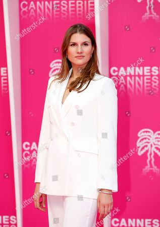 Stock Image of Cast member of 'The Outbreak', Russian actress Maryana Spivak poses on the pink carpet during the Cannes Series Festival in Cannes, 07 April 2019. The event will take place from 05 to 10 April.