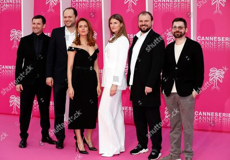 Cast members of 'The Outbreak', Russian actors Viktoriya Isakova (3-L), Maryana Spivak (3-R) and Russian creator Roman Kantor (R) pose on the pink carpet during the Cannes Series Festival in Cannes, 07 April 2019. The event will take place from 05 to 10 April.