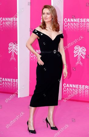 Cast member of 'The Outbreak', Russian actress Viktoriya Isakova poses on the pink carpet during the Cannes Series Festival in Cannes, 07 April 2019. The event will take place from 05 to 10 April.