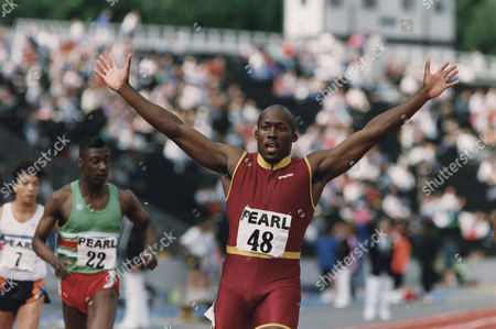 John Regis. Athlete Celebrating Victory . Rexmailpix.