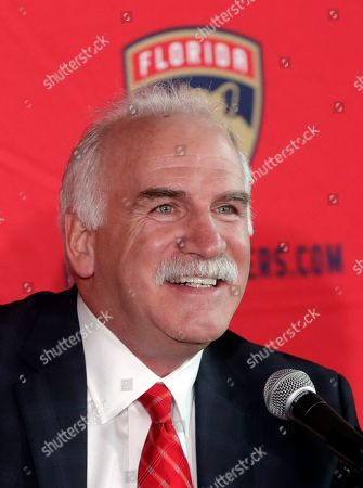 Joel Quenneville speaks after being introduced as the Florida Panthers new head coach during a news conference, in Sunrise, Fla