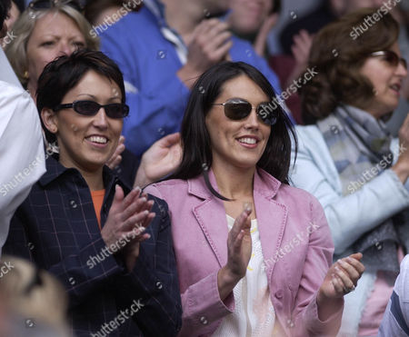 Wimbledon 2002 Wimbledon The Championships.day Five 28/06/02.-daily Mail Greg Rusedski's Wife Lucy And Her Sister Oonagh Watch The Centre Court Match Where Greg Rusedski Beat Andy Roddick 6-3 6-4 6-2.