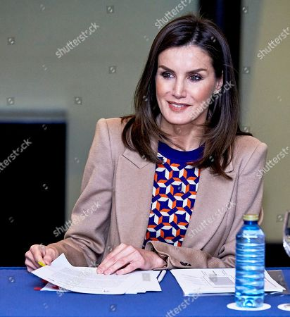 Queen Letizia visit to the School of Engraving and Graphic Design, Madrid