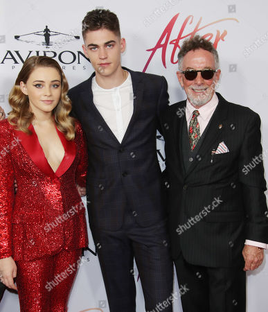 Josephine Langford and Hero Fiennes-Tiffin with Mark Canton