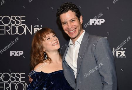"""Stock Picture of Juliet Brett, Thomas Kail. Actress Juliet Brett, left, and executive producer and director Thomas Kail pose together at the premiere screening of FX's """"Fosse/Verdon"""" at the Gerald Schoenfeld Theatre, in New York"""