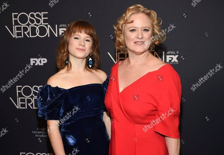 """Juliet Brett, Nicole Fosse. Actress Juliet Brett, left, and co-executive producer Nicole Fosse pose together at the premiere screening of FX's """"Fosse/Verdon"""" at the Gerald Schoenfeld Theatre, in New York"""