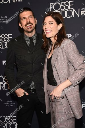"Seth Avett, Jennifer Carpenter. Musician Seth Avett, left, and wife actress Jennifer Carpenter attend the premiere screening of FX's ""Fosse/Verdon"" at the Gerald Schoenfeld Theatre, in New York"